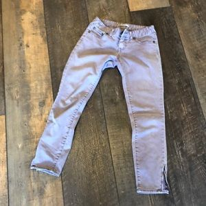 Anthro Free People Mauve Ankle ZIP Skinny Jeans 25